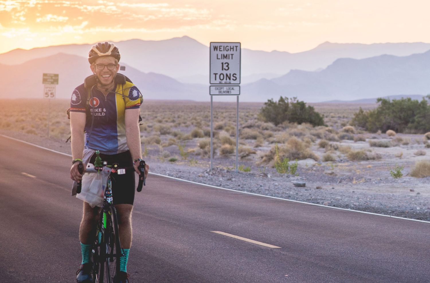 Chris Weachock with Bike and Build in Death Valley